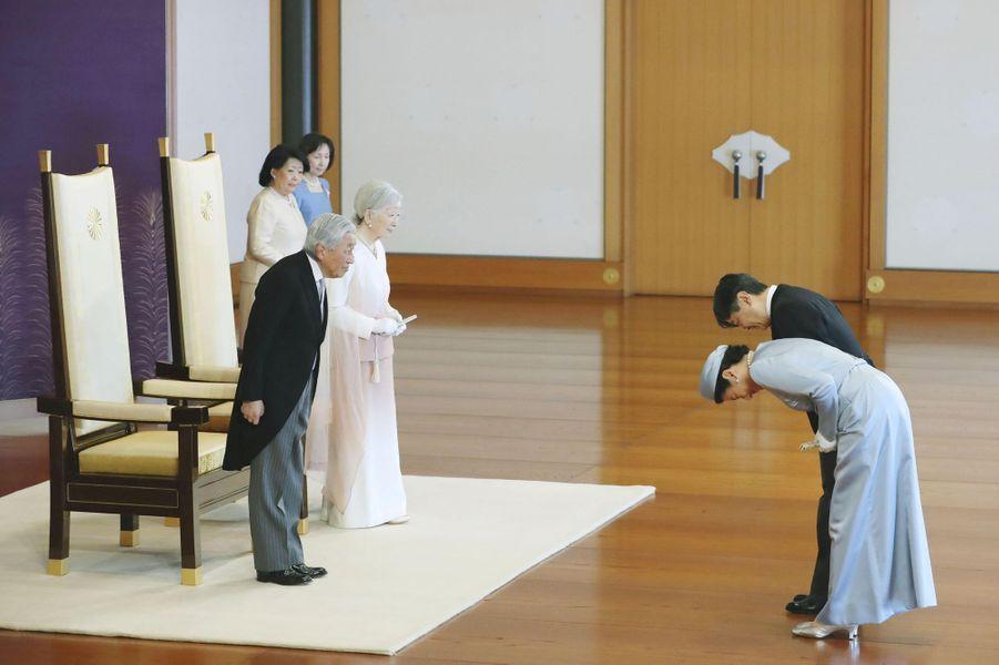 L'impératrice Michiko et l'empereur Akihito du Japon avec le prince Naruhito et la princesse Masako à Tokyo, le 24 février 2019