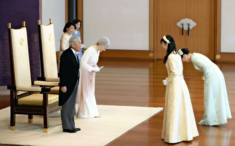 L'impératrice Michiko et l'empereur Akihito du Japon avec les princesses Kako et Mako à Tokyo, le 24 février 2019