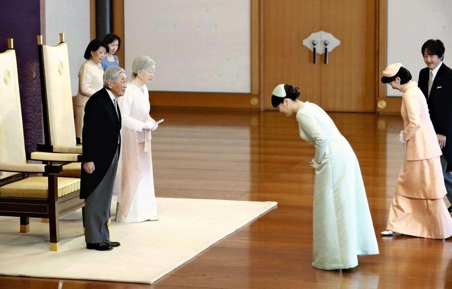 L'impératrice Michiko et l'empereur Akihito du Japon avec les princesses Kiko et Mako et le prince Akishino à Tokyo, le 24 février 2019