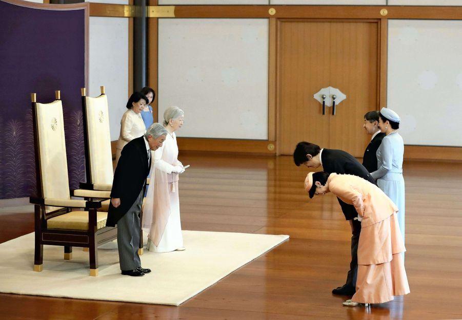 L'impératrice Michiko et l'empereur Akihito du Japon avec leurs fils et leurs belles-filles à Tokyo, le 24 février 2019
