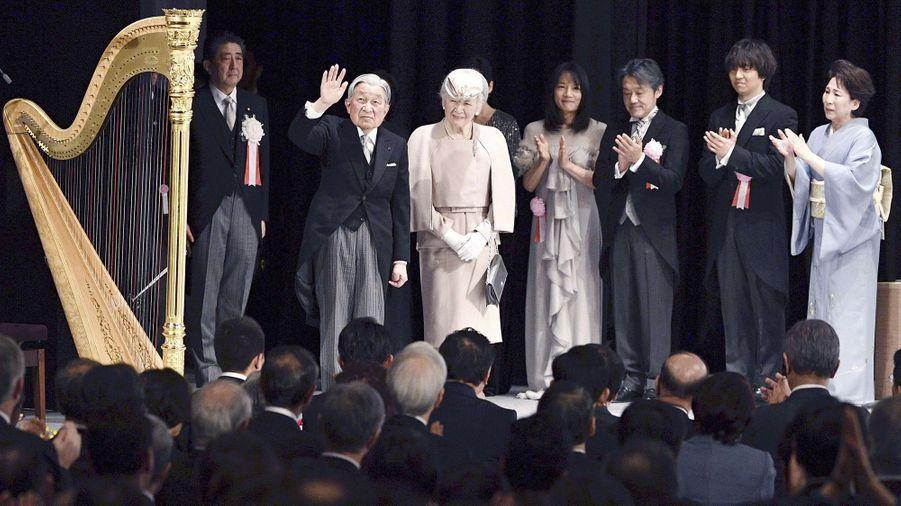 L'impératrice Michiko et l'empereur Akihito du Japon à Tokyo, le 24 février 2019