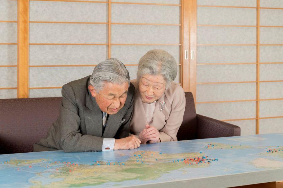 L'empereur Akihito et sa femme l'impératrice Michiko du Japon à Tokyo, le 10 décembre 2018. Photo diffusée pour les 85 ans d'Akihito le 23 décembre 2018