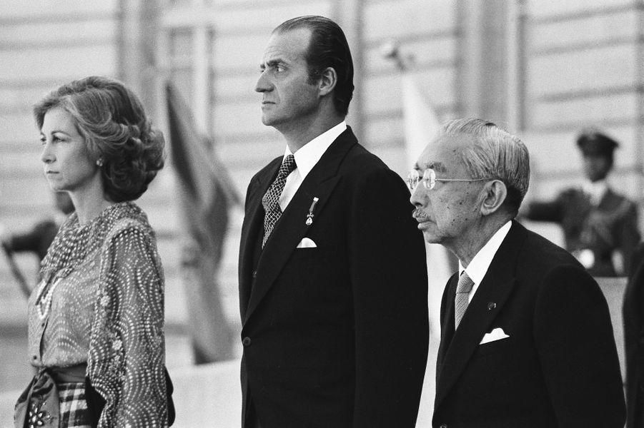L'empereur Hirohito du Japon avec le roi Juan Carlos d'Espagne et la reine Sofia, le 27 octobre 1980