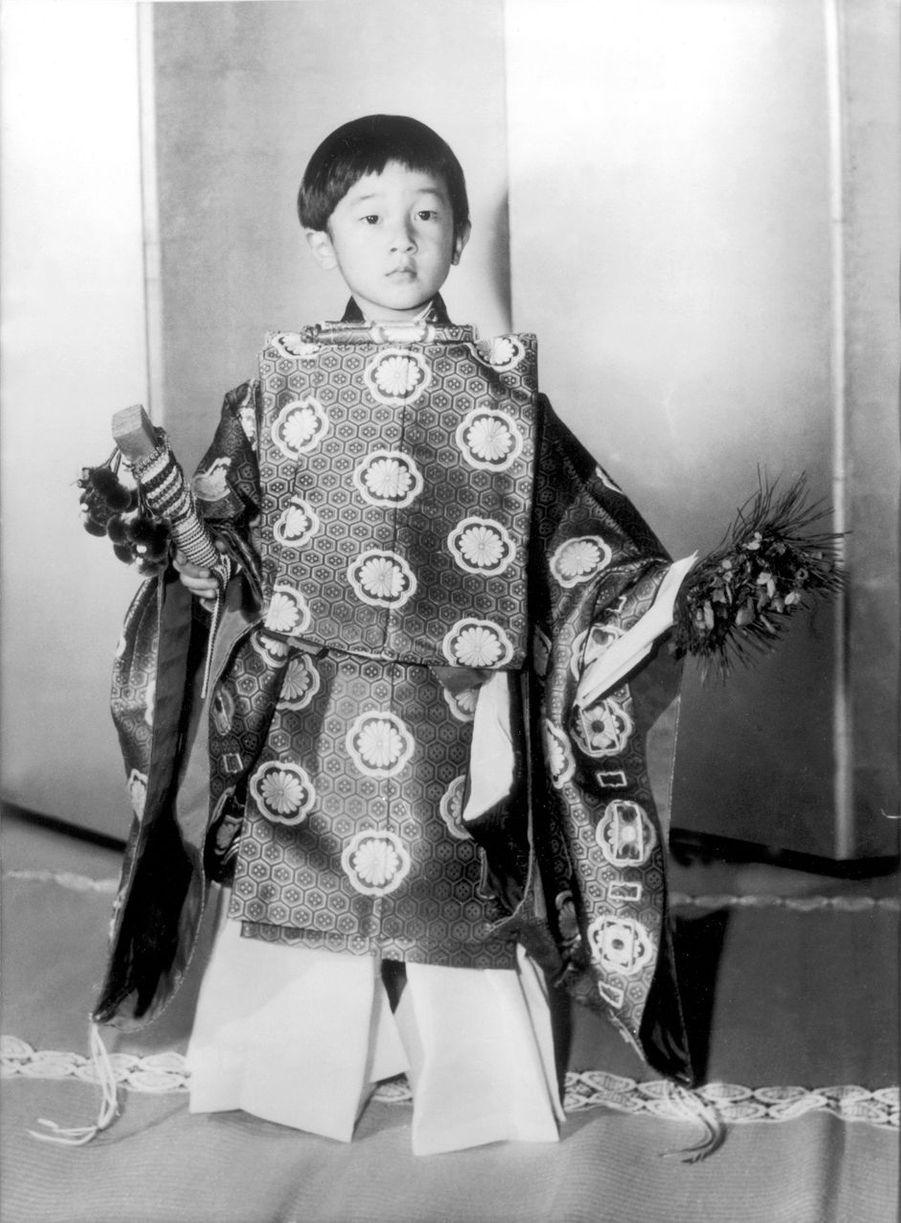 Le prince Naruhito du Japon, le 7 septembre 1964