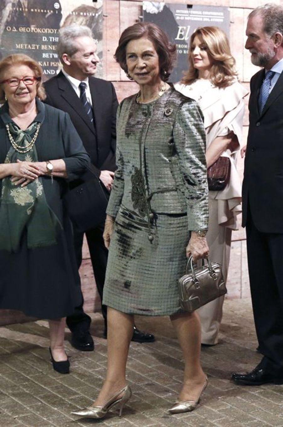 Sofia d'Espagne inaugure l'exposition El Greco à Athènes, le 20 novembre 2014