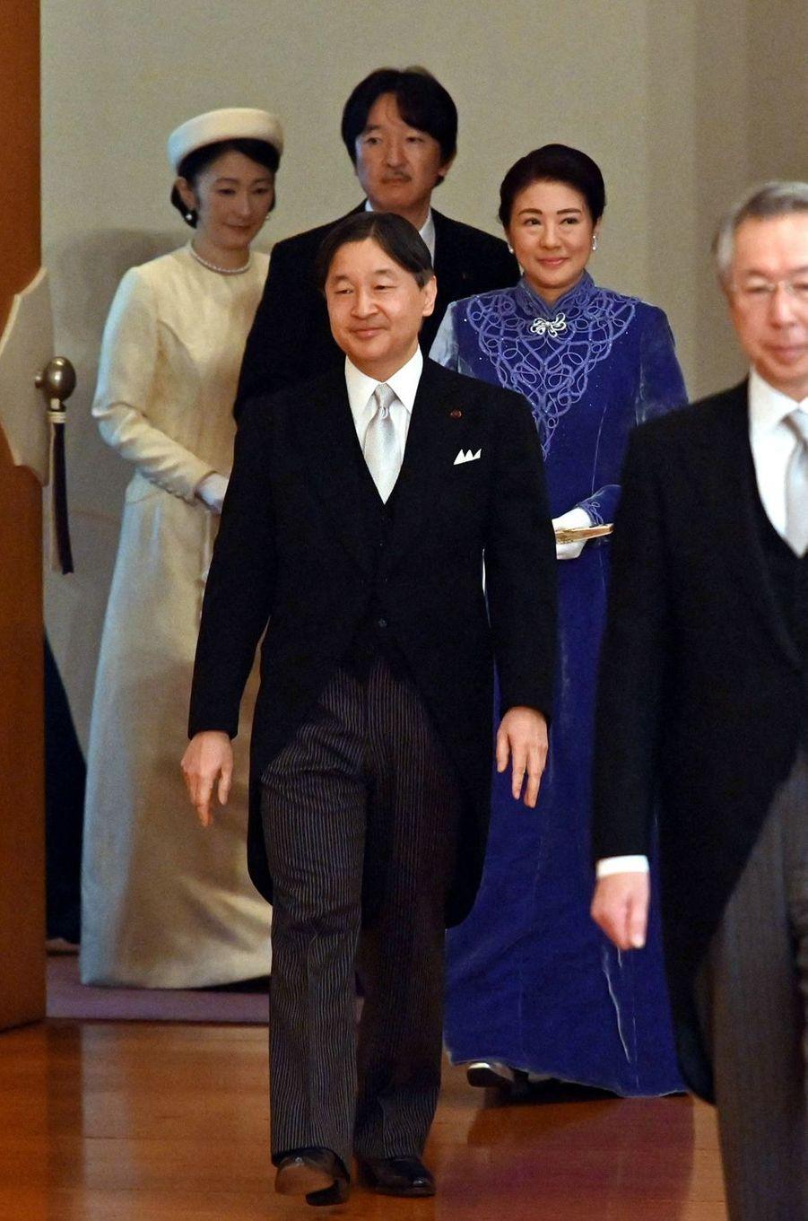 L'impératrice Masako et l'empereur Naruhito du Japon avec le prince Akishino et la princesse Kiko à Tokyo, le 16 janvier 2020