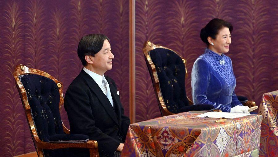 L'impératrice Masako et l'empereur Naruhito du Japon au Palais impérial à Tokyo, le 14 janvier 2020