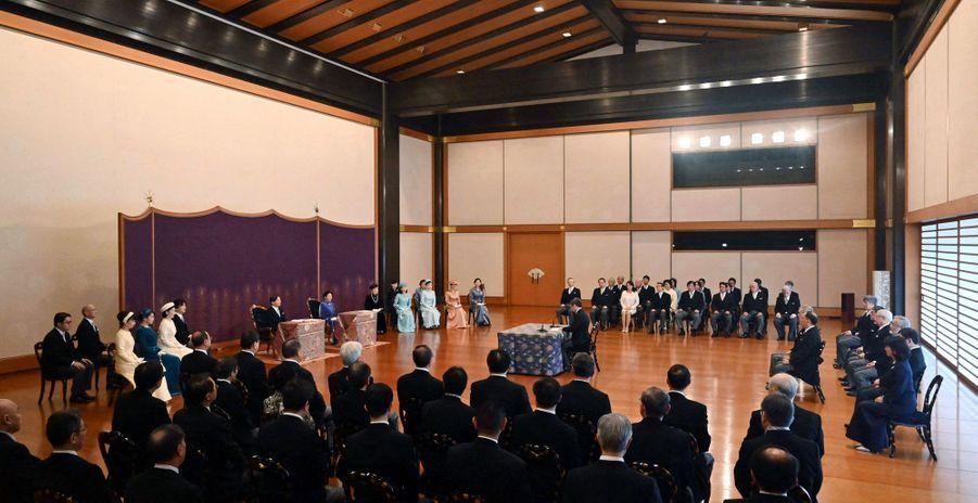 L'impératrice Masako et l'empereur Naruhito du Japon avec la famille impériale au Palais impérial à Tokyo, le 14 janvier 2020
