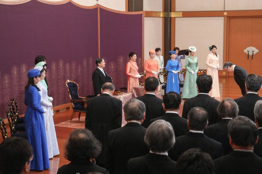 L'impératrice Masako et l'empereur Naruhito du Japon avec la famille impériale au Palais impérial à Tokyo, le 16 janvier 2020