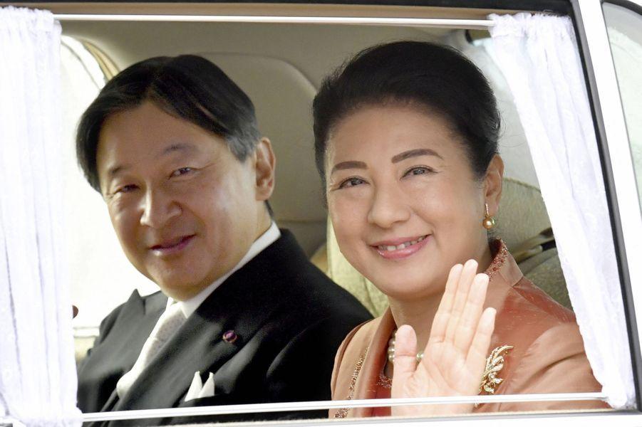 L'impératrice Masako et l'empereur Naruhito du Japon se rendent au Palais impérial à Tokyo, le 16 janvier 2020