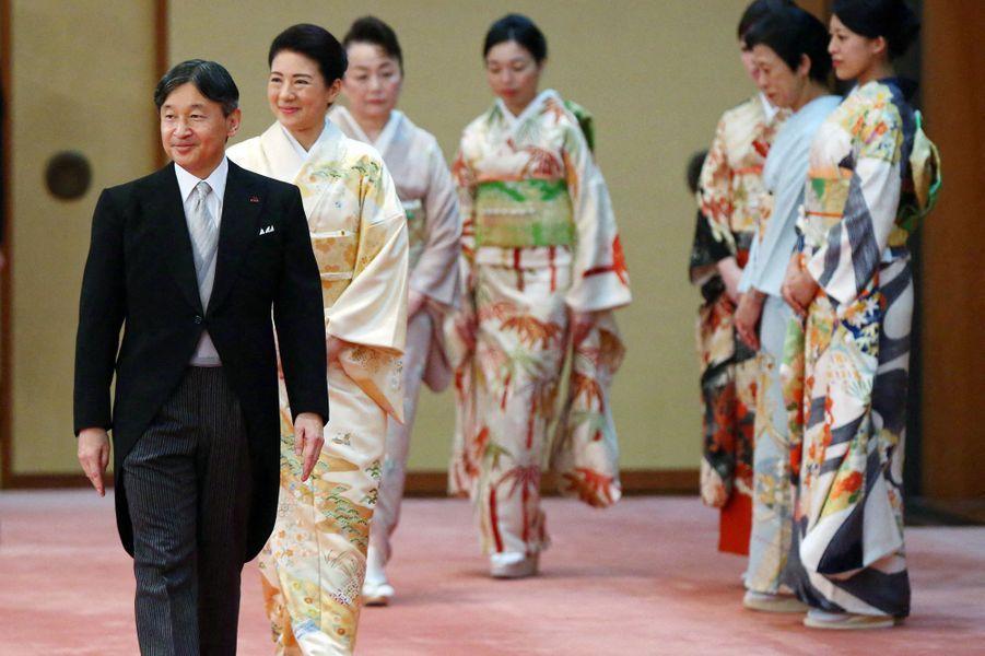 L'impératrice Masako et l'empereur Naruhito du Japon avec plusieurs femmes de la famille impériale à Tokyo, le 31 octobre 2019