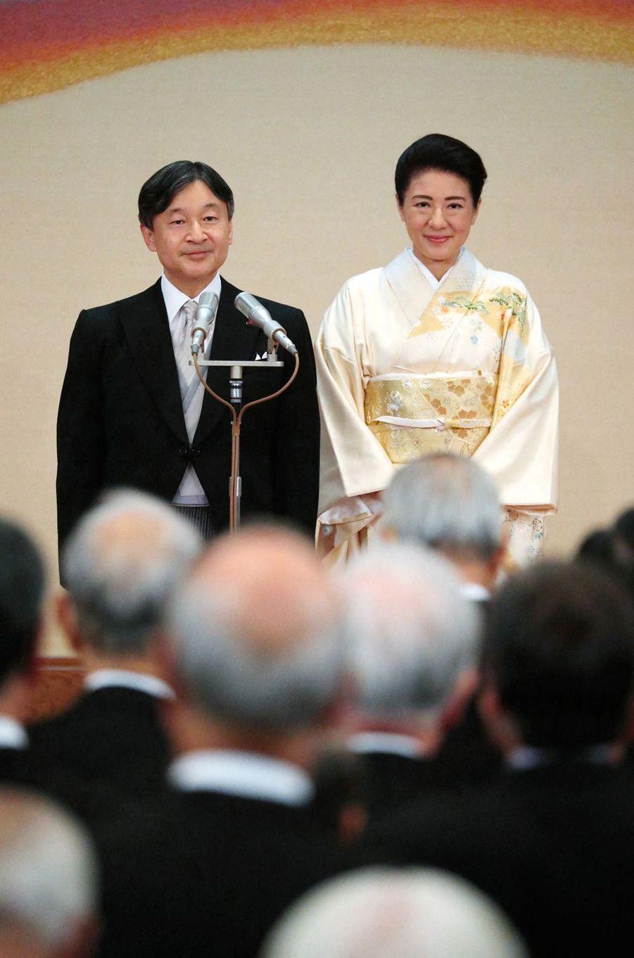 L'impératrice Masako et l'empereur Naruhito du Japon au Palais impérial à Tokyo, le 31 octobre 2019