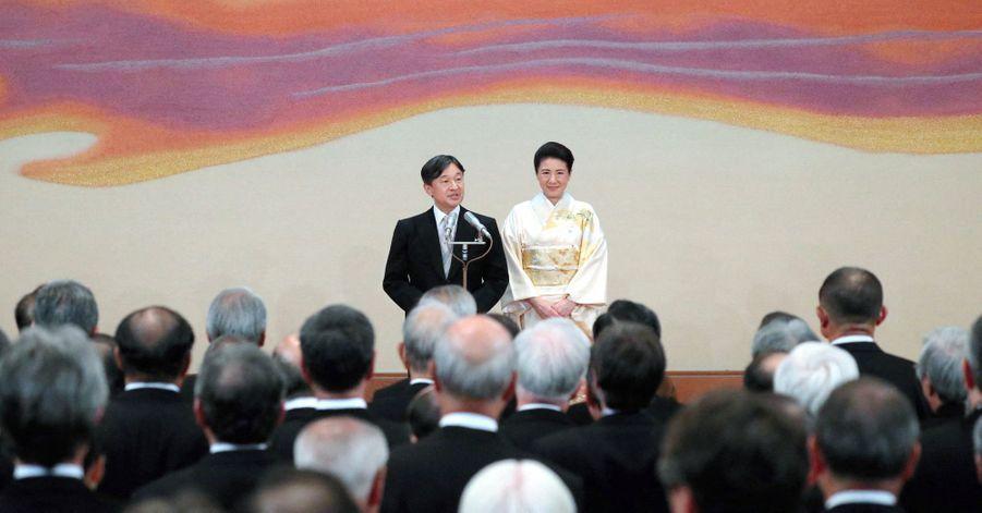 L'empereur Naruhito du Japon et l'impératrice Masako au Palais impérial à Tokyo, le 31 octobre 2019