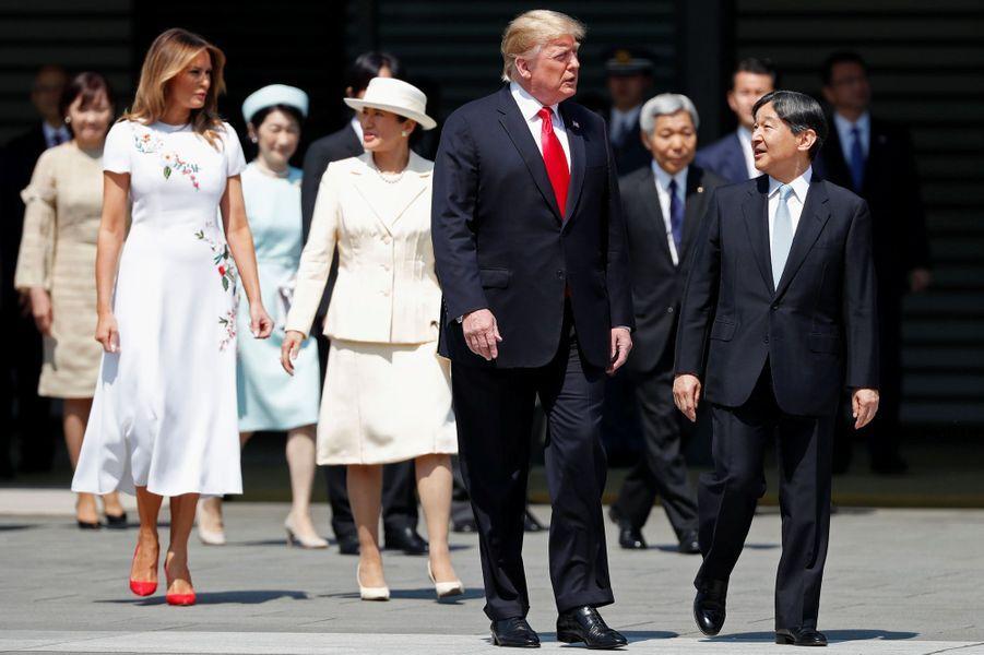 L'impératrice Masako et l'empereur Naruhito du Japon avec Donald et Melania Trump à Tokyo, le 27 mai 2019