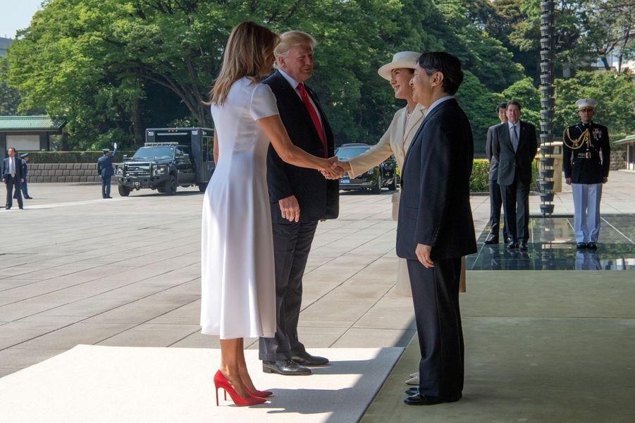 L'impératrice Masako et l'empereur Naruhito du Japon avec Melania et Donald Trump à Tokyo, le 27 mai 2019