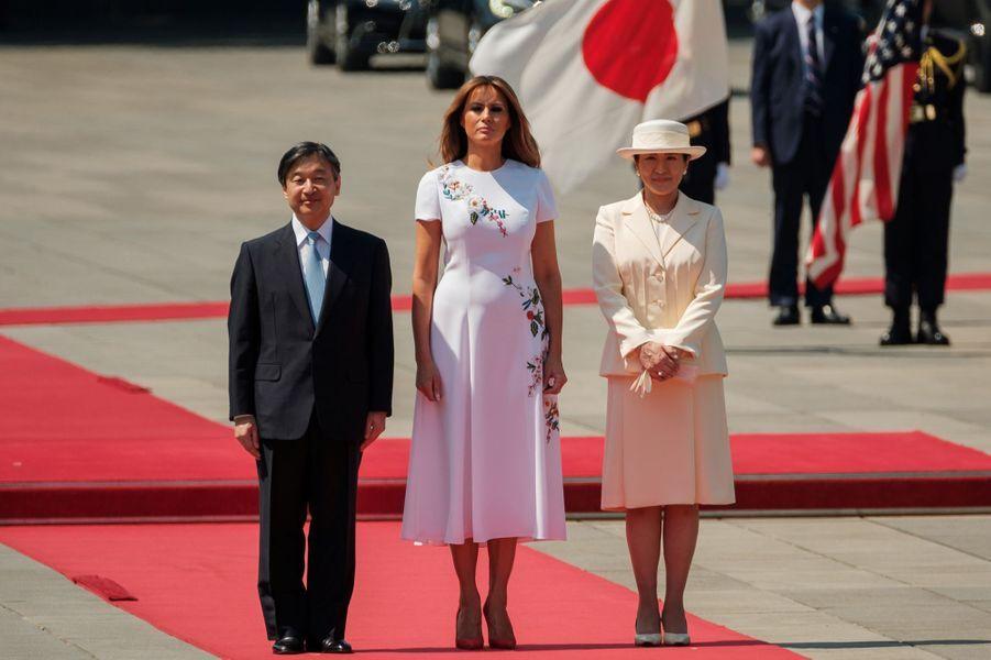 L'impératrice Masako et l'empereur Naruhito du Japon avec Melania Trump à Tokyo, le 27 mai 2019
