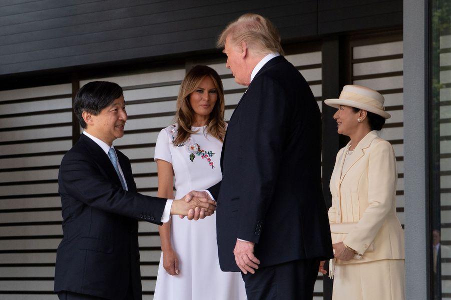 L'empereur Naruhito et l'impératrice Masako du Japon avec Donald et Melania Trump à Tokyo, le 27 mai 2019