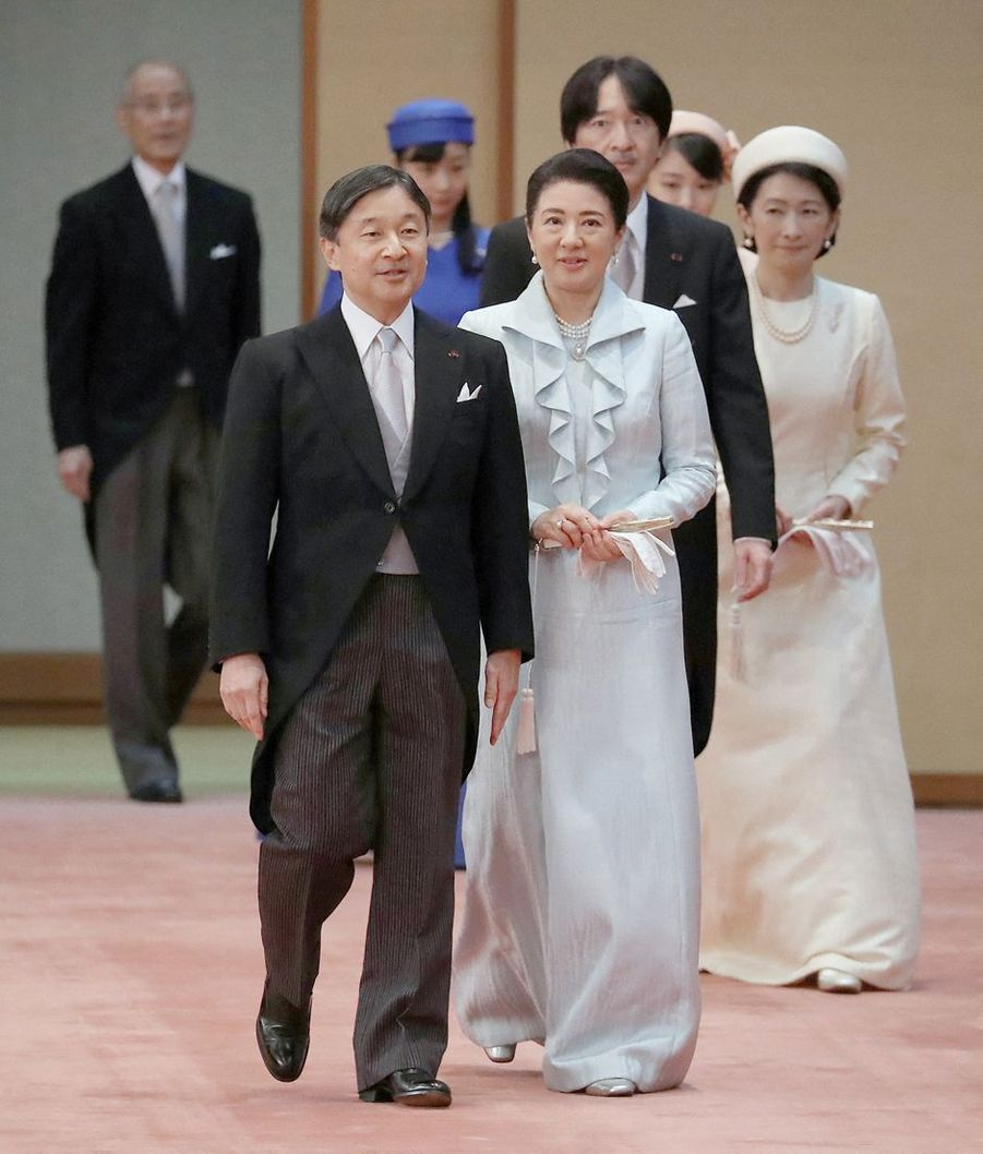 L'empereur Naruhito du Japon et l'impératrice Masako avec la famille impériale à Tokyo, le 29 octobre 2019