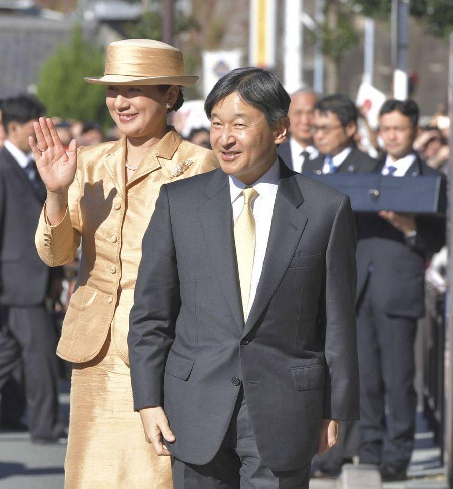 L'empereur Naruhito et l'impératrice Masako du Japon repartent d'Ise, le 23 novembre 2019