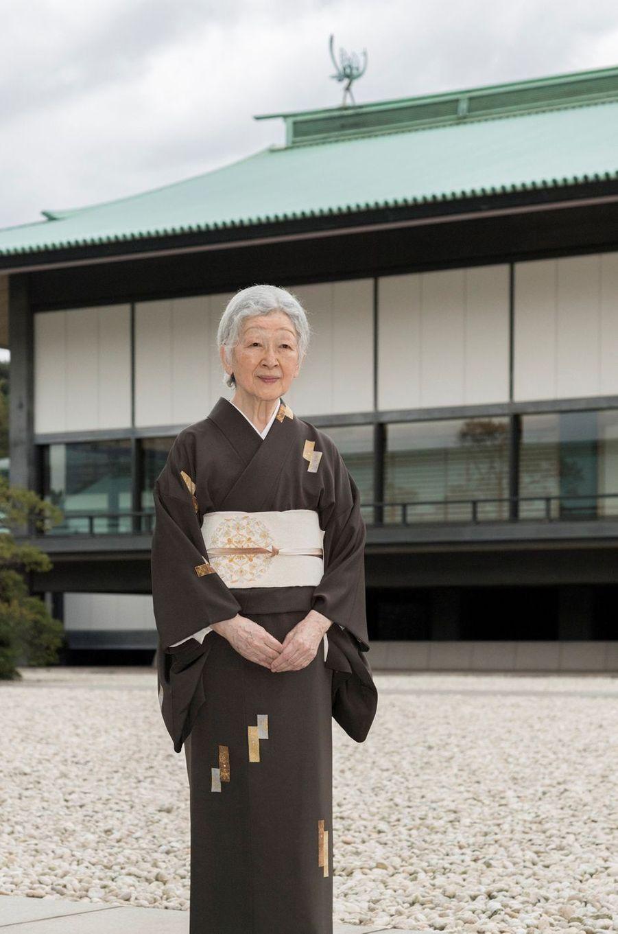 L'impératrice Michiko du Japon au Palais impérial à Tokyo, le 12 octobre 2018