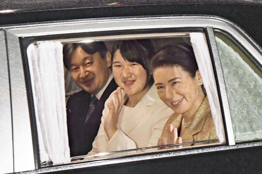 La princesse Masako et le prince Naruhito du Japon avec leur fille la princesse Aiko à Tokyo, le 20 octobre 2018