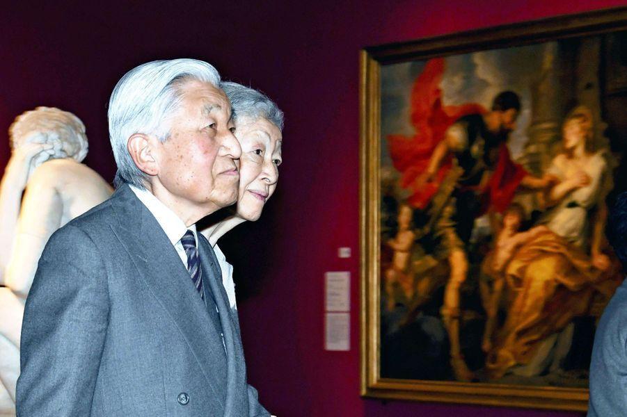 L'impératrice Michiko et l'empereur Akihito du Japon à Tokyo, le 14 janvier 2019