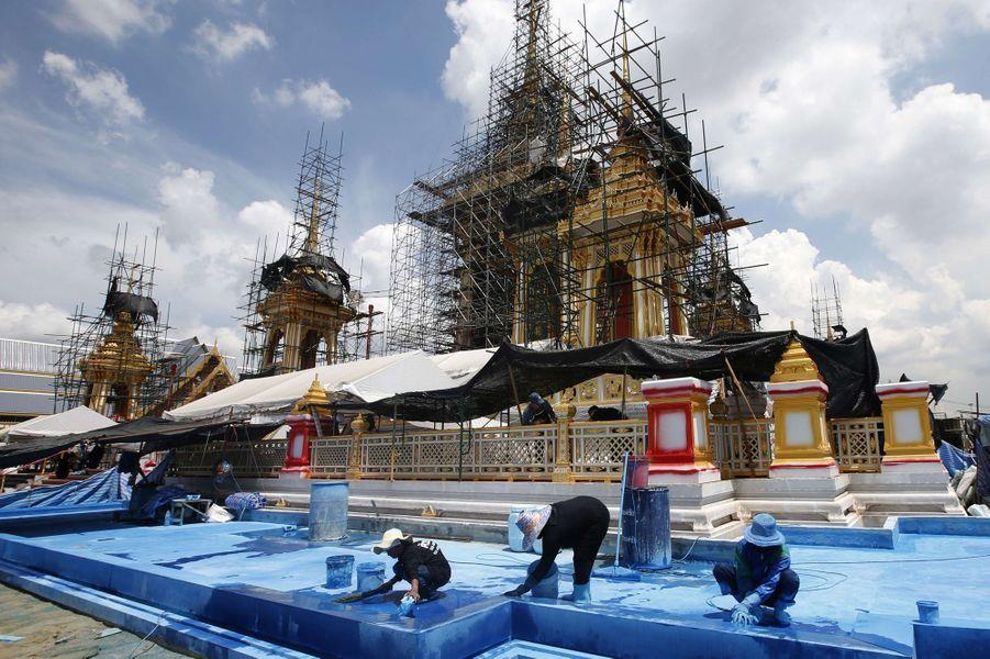 Le bâtiment de la crémation de l'ancien roi de Thaïlande Bhumibol Adulyadej en construction, à Bangkok le 8 septembre 2017