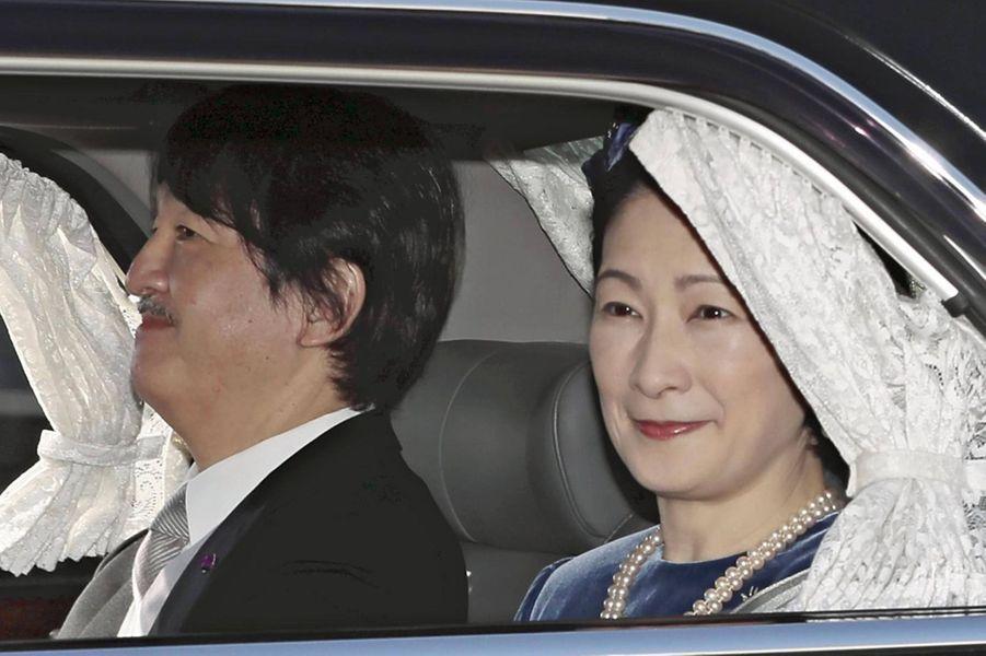 Le prince héritier Fumihito d'Akishino et la princesse Kiko du Japon arrivent au Palais impérial à Tokyo le 23 février 2020