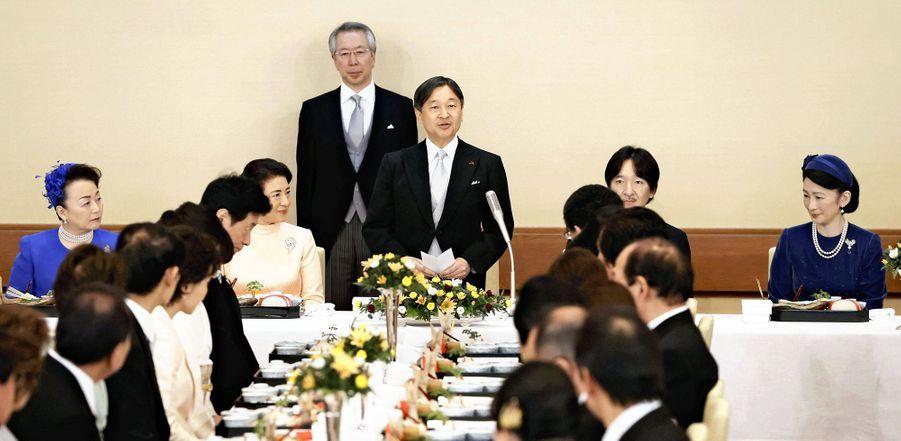 La famille impériale du Japon lors du déjeuner du 60e anniversaire de l'empereur Naruhito au Palais impérial à Tokyo le 23 février 2020
