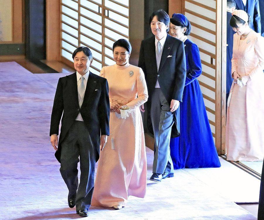 L'empereur Naruhito et l'impératrice Masako du Japon avec le prince héritier Fumihito d'Akishino et les princesses Kiko et Mako à Tokyo, le 23 février 2020