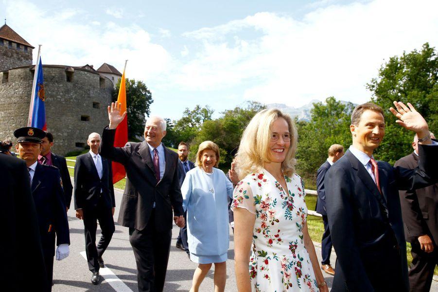 Les princes Hans Adam II et Aloïs et les princesses Marie et Sophie de Liechtenstein à Vaduz, le 15 août 2019 jour de la Fête nationale