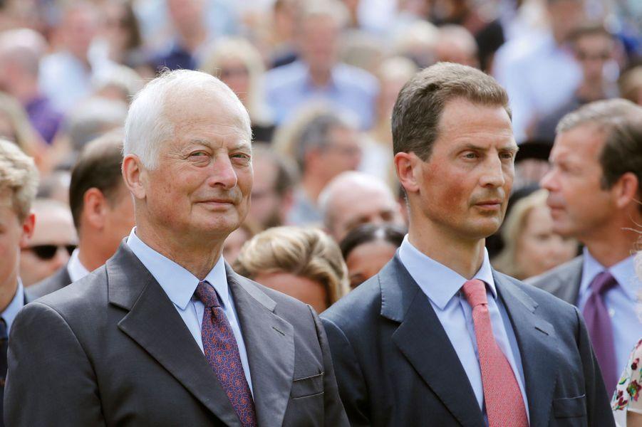 Les princes Hans Adam II et Aloïs de Liechtenstein à Vaduz, le 15 août 2019