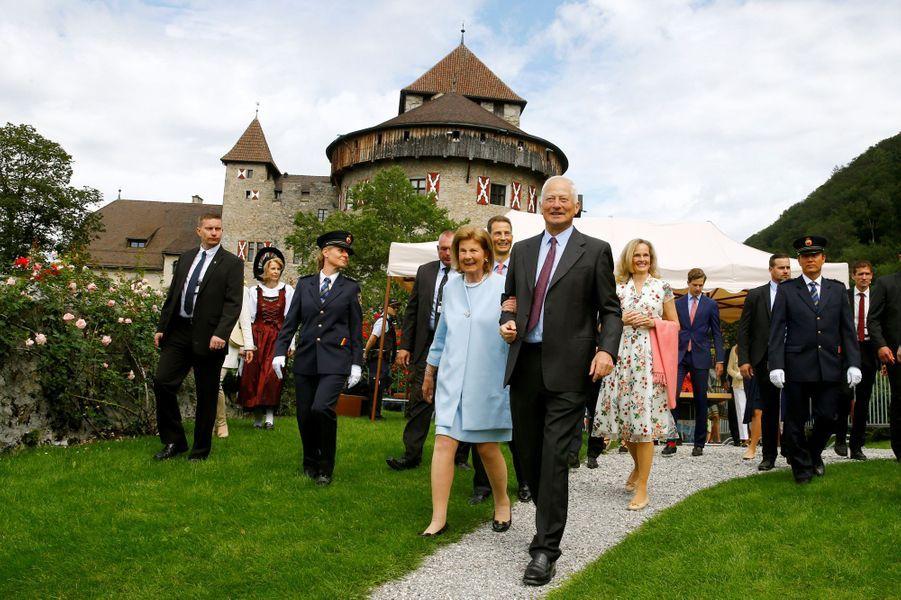 Les princes Hans Adam II et Aloïs avec les princesses Marie et Sophie de Liechtenstein à Vaduz, le 15 août 2019