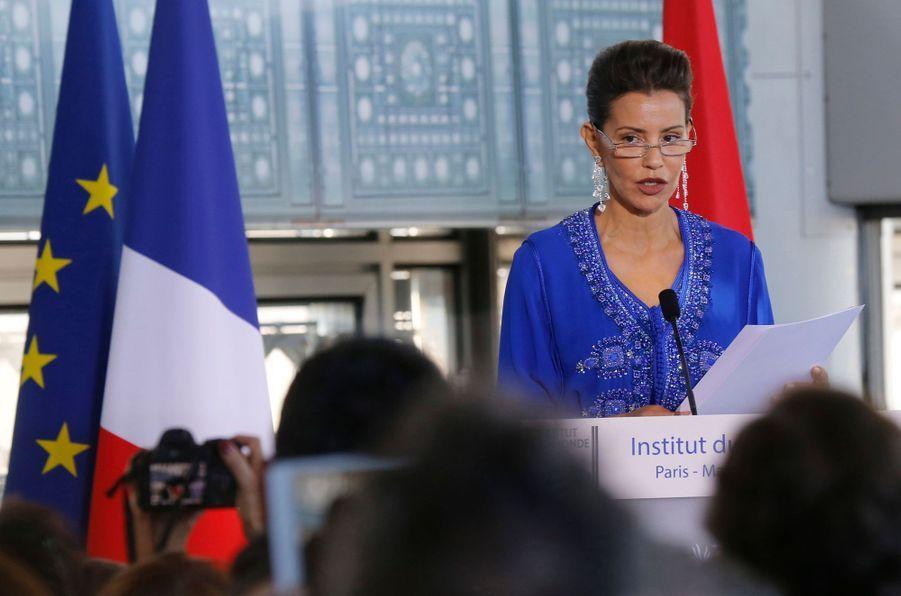 La princesse du Maroc Lalla Meryem à l'inauguration de l'exposition «Le Maroc contemporain» à l'Institut du monde arabe à Paris, le 14 octo...