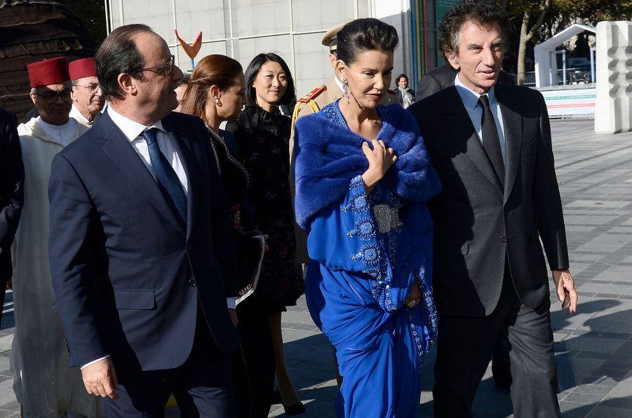 La princesse du Maroc Lalla Meryem, avec François Hollande et Jack Lang, à Paris, le 14 octobre 2014
