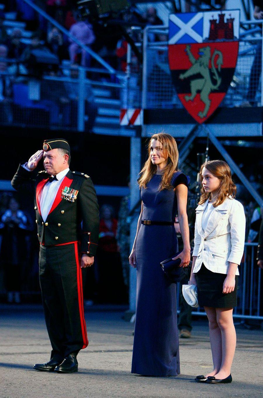 La princesse Iman de Jordanie avec ses parents à Edimbourg, le 18 août 2010