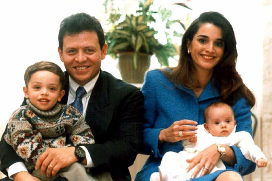 La princesse Iman de Jordanie avec ses parents et son frère le prince Hussein, le 27 septembre 1996