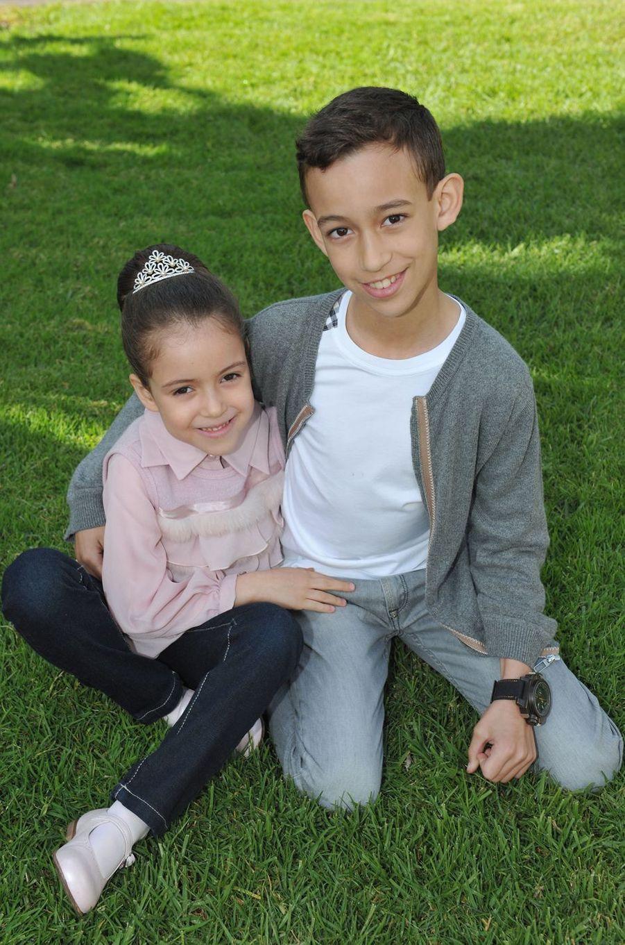 La princesse Lalla Khadija du Maroc avec son frère le prince Moulay El Hassan, le 28 février 2013