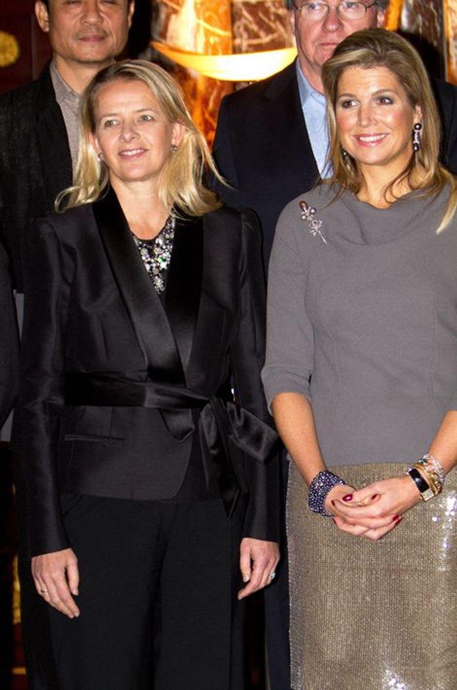 La reine Maxima des Pays-Bas avec la princesse Mabel, au prix du prince Claus à Amsterdam, le 10 décembre 2014