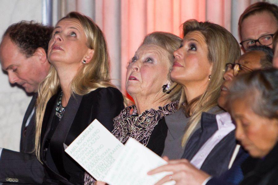 La reine Maxima des Pays-Bas et les princesses Beatrix et Mabel au prix du prince Claus à Amsterdam, le 10 décembre 2014
