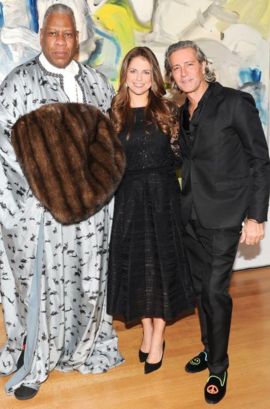 La princesse Madeleine de Suède avec Andre Leon Talley et Carlos Souza à New York, le 9 novembre 2014