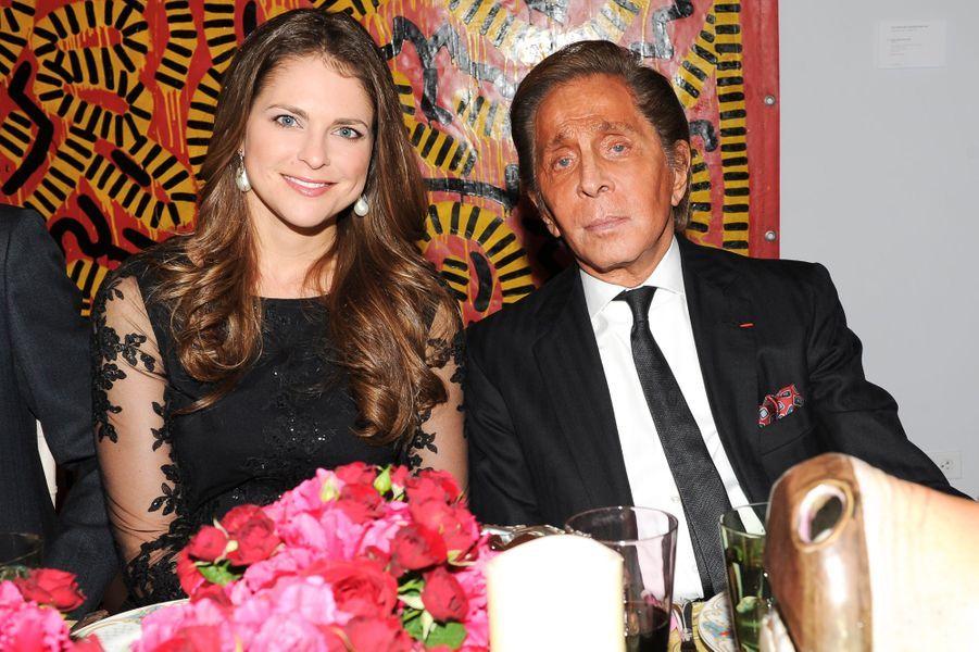 La princesse Madeleine de Suède avec Valentino Garavani à New York, le 9 novembre 2014