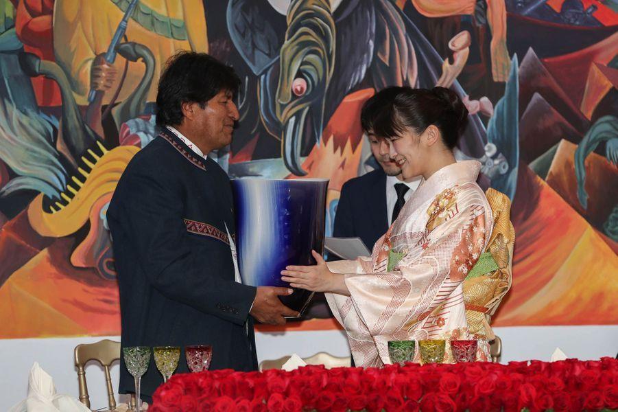 La princesse Mako du Japon avec le président de Bolivie Evo Morales à La Paz, le 15 juillet 2019