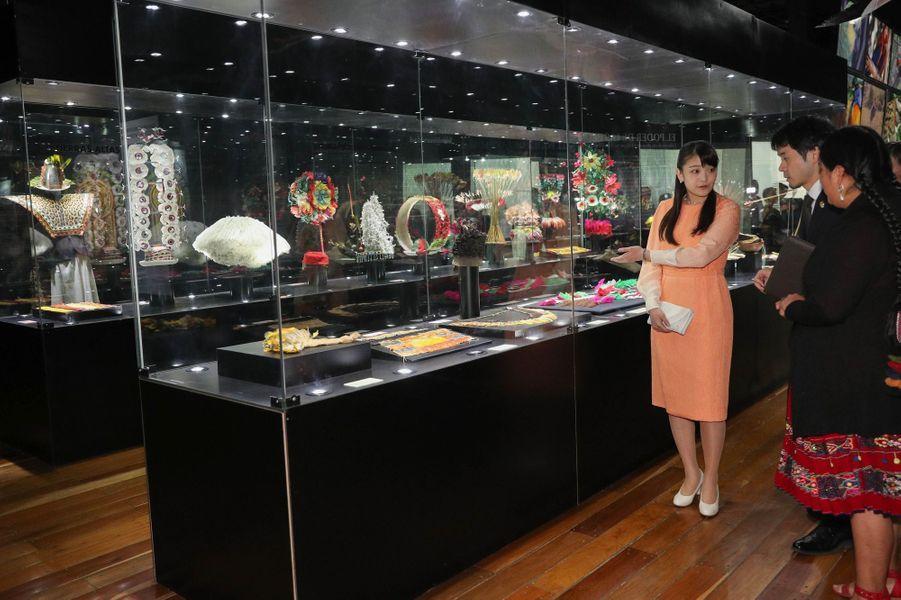 La princesse Mako du Japon au musée national d'Ethnographie et du Folklore à La Paz en Bolivie, le 16 juillet 2019