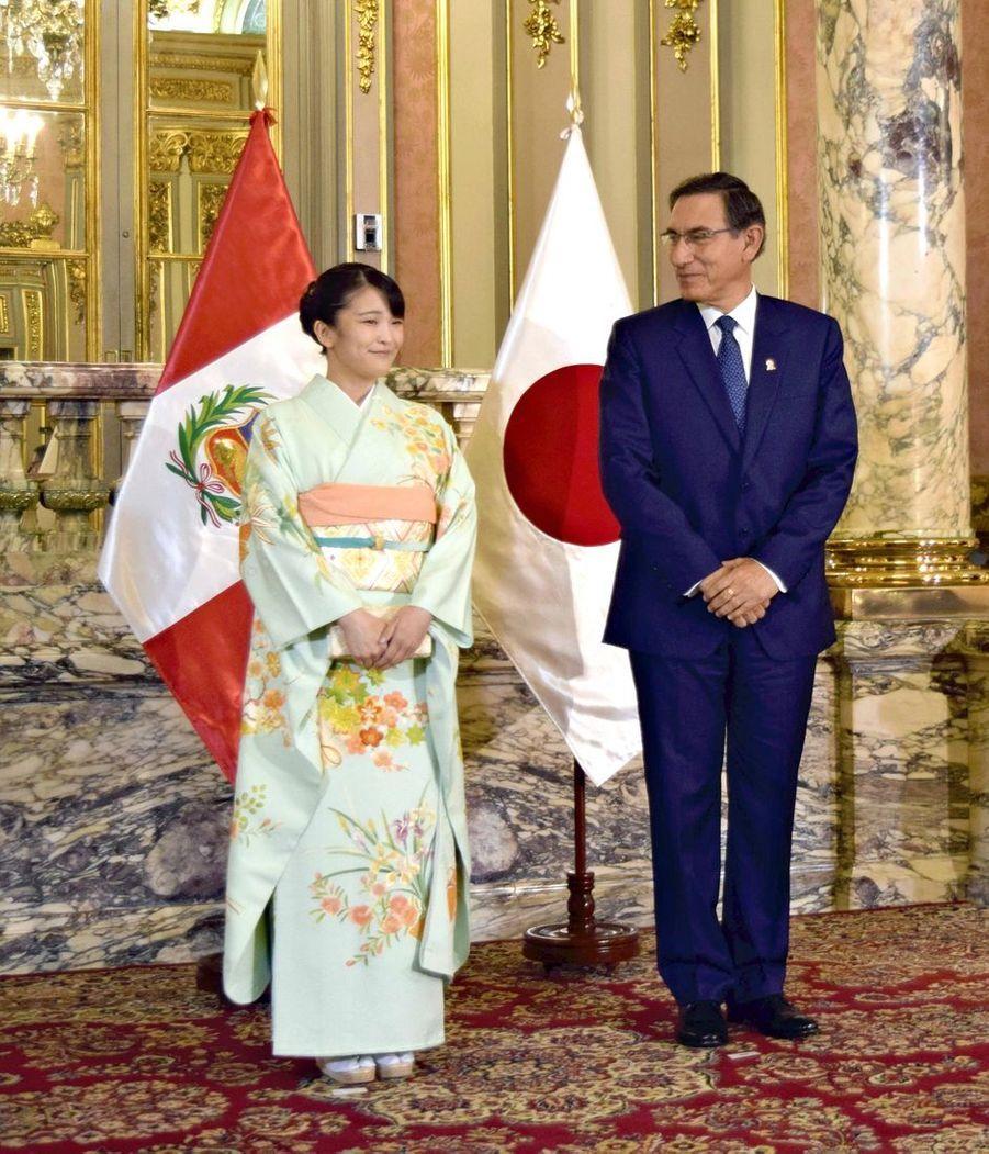 La princesse Mako du Japon avec le président du Pérou Martin Vizcarra à Lima, le 11 juillet 2019