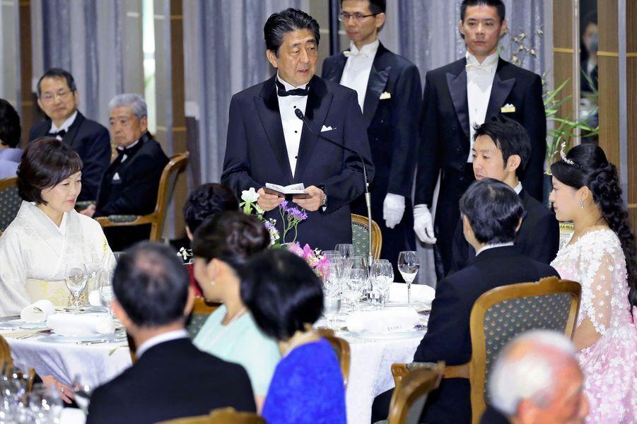 Banquet du mariage de la princesse Ayako du Japon et de Kei Moriya à Tokyo, le 30 octobre 2018