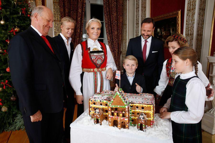 La famille royale de Norvège au Palais royal d'Oslo, le 17 décembre 2014