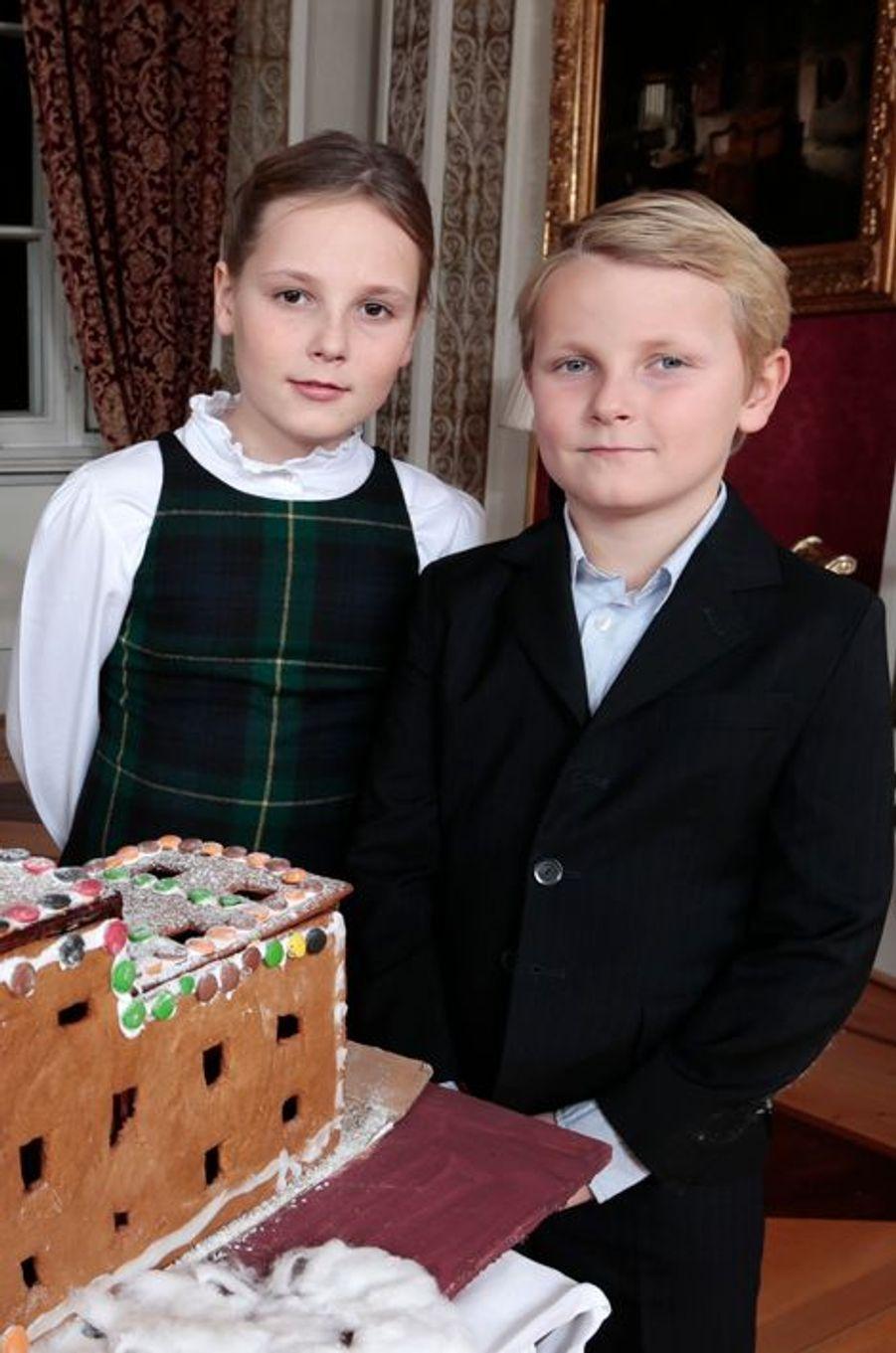 La princesse Ingrid-Alexandra et le prince Sverre-Magnus au Palais royal d'Oslo, le 17 décembre 2014