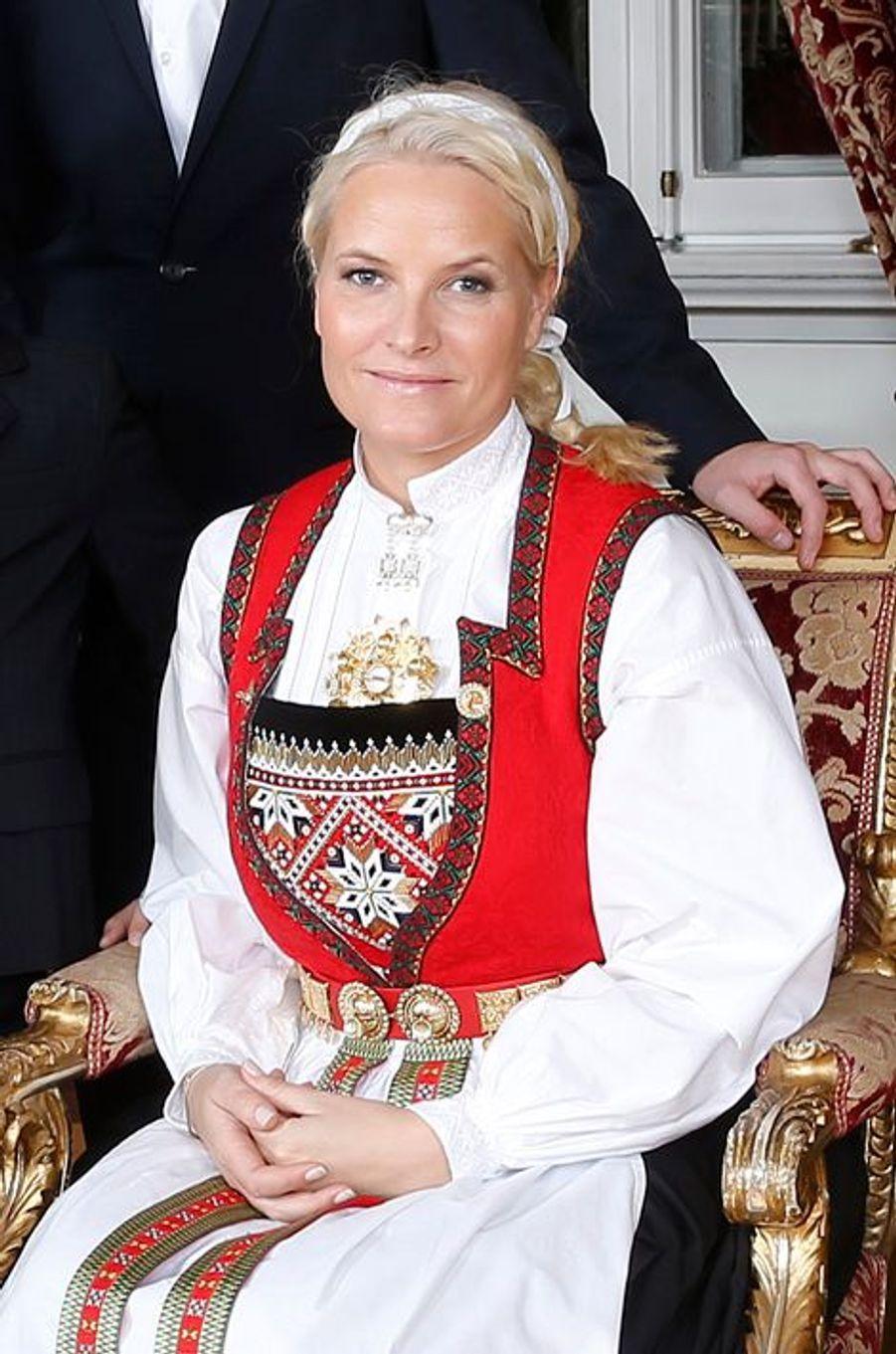 La princesse Mette-Marit au Palais royal d'Oslo, le 17 décembre 2014