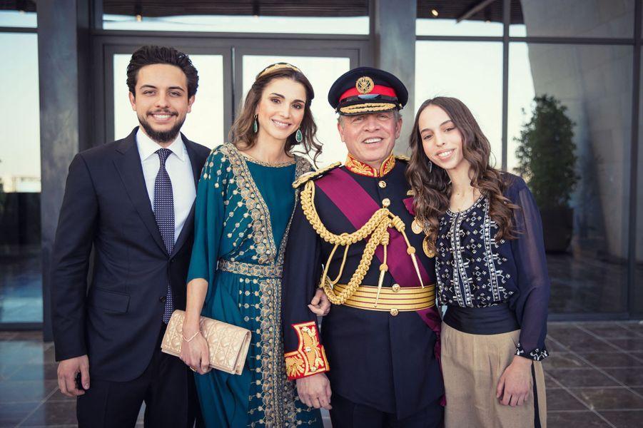 La princesse Salma de Jordanie avec ses parents et son frère aîné, le 2 juin 2016